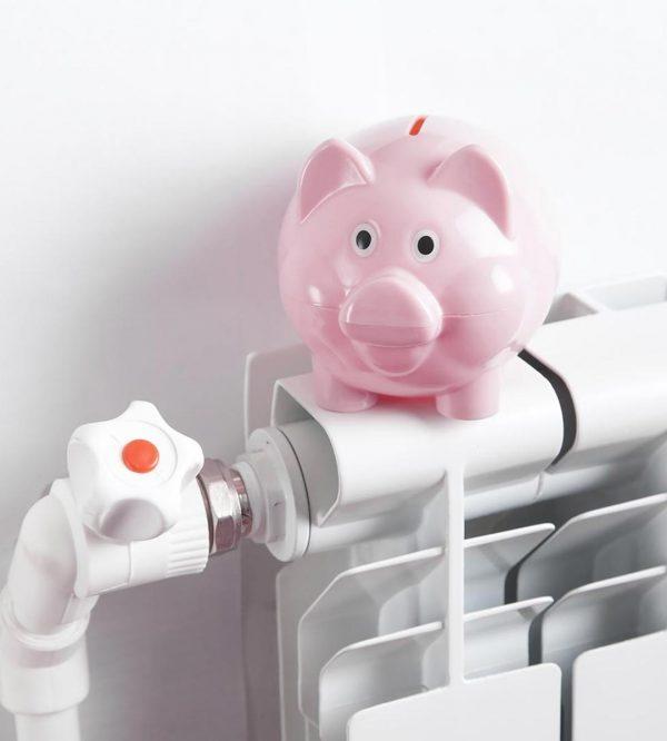 Piggy bank on radiator. Energy saving